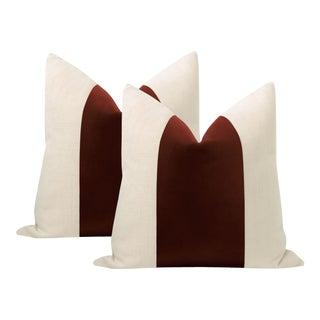 """22"""" Oxblood Italian Velvet Panel & Linen Pillows - a Pair For Sale"""