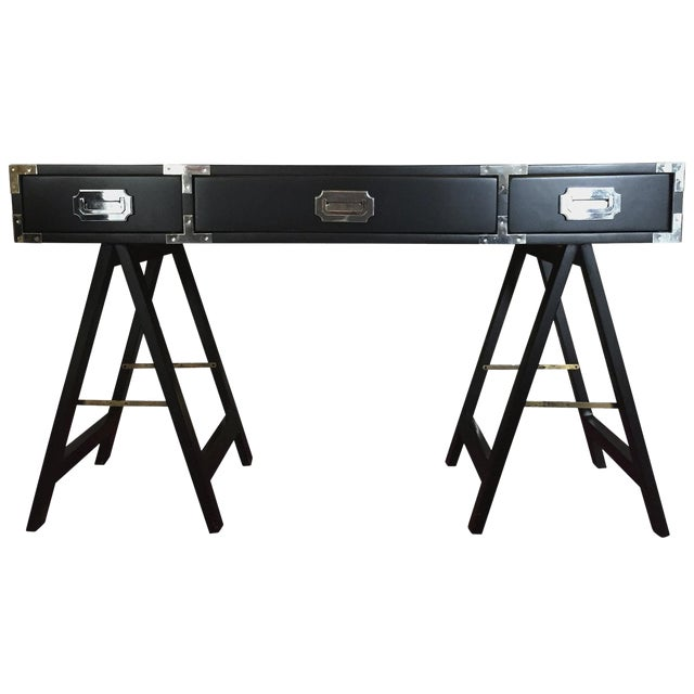 Mid Century Modern Lacquered Black Campaign Desk with Chrome and Brass Hardware - Image 1 of 9