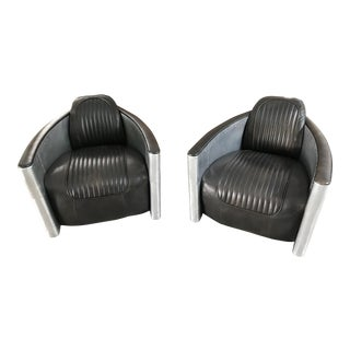 Restoration Hardware Aviator Swivel Chairs - A Pair For Sale