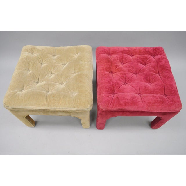 Vintage Hollywood Regency Parson Pink & Beige Stools Upholstered Bench Ottoman - a Pair - Image 9 of 11