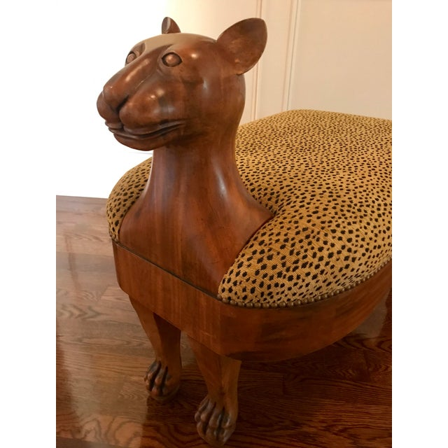 Modern Vintage Maitland-Smith Cat Ottoman For Sale - Image 3 of 7