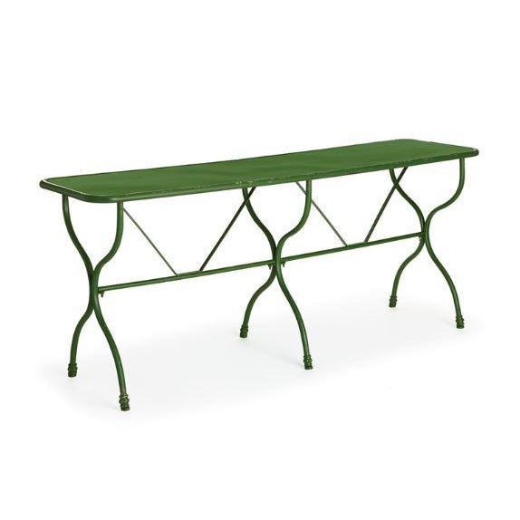 Rustic European Kenneth Ludwig Green Distressed Factory Table For Sale - Image 3 of 3