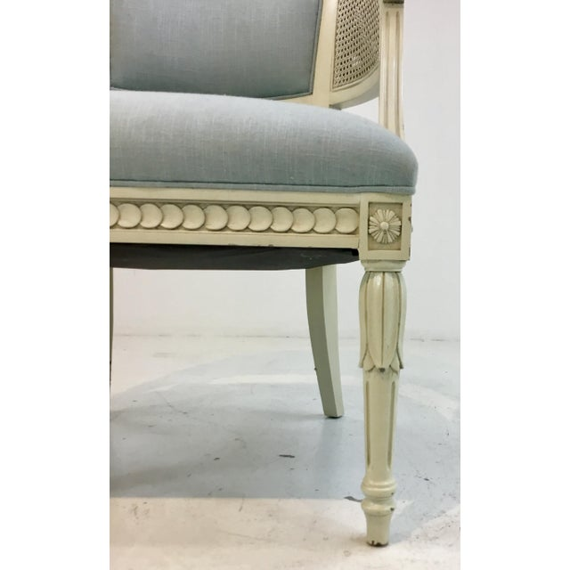 Hickory Chair Furniture Company Hickory Chair Transitional Le Clerc Ivory Cane Chairs Pair For Sale - Image 4 of 8