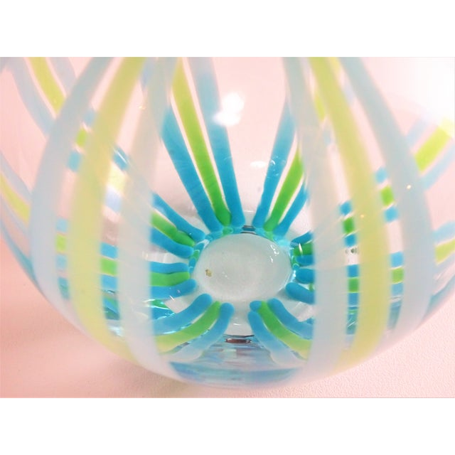 Hand Blown Green and Blue Glass Vase For Sale - Image 10 of 13