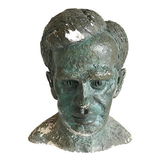 1940s Art Deco Plaster Bust of Male