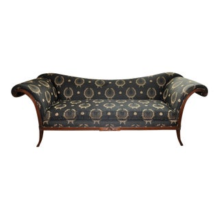 Early 20th Century Antique Edwardian Long Wing Back Sofa For Sale