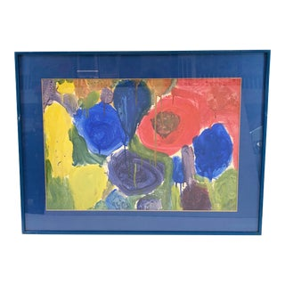 Colorful Framed Abstract Watercolor of Floral Design - Unsigned For Sale