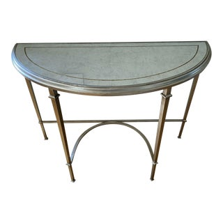 Lillian August Wrought Iron and Glass Demilune Console Table For Sale
