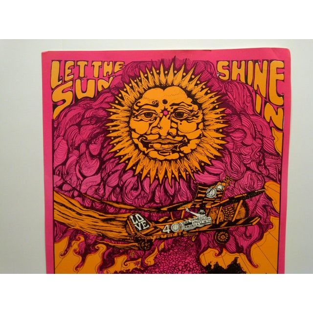 """Boho Chic Vintage """"Let the Sun Shine In"""" Blacklight Poster For Sale - Image 3 of 7"""
