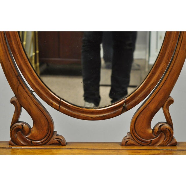 Antique Cheval Style Walnut Oval Mirror Lift Top Shaving Vanity Mirror For Sale - Image 9 of 12