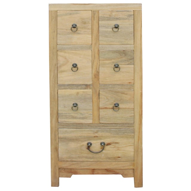 Wood Chinese Raw Wood 7 Drawers Side Table Cabine For Sale - Image 7 of 9