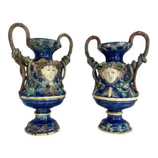 Monumental Pair Majolica Palissy Blue Medusa Vases, Snakes, School of Paris 1870 For Sale