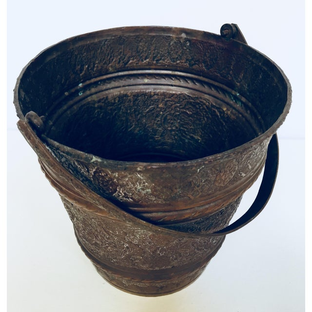 Anglo-Raj Mughal Metal Copper Vessel Bucket For Sale - Image 12 of 12