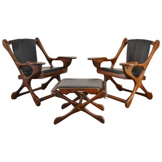 Pair of Don Shoemaker Sling Chairs With Ottoman, Circa 1960 For Sale