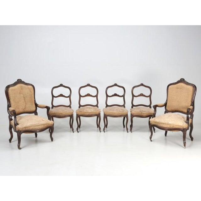 French Antique Carved Parlor Chairs - Set of 6 For Sale - Image 12 of 12