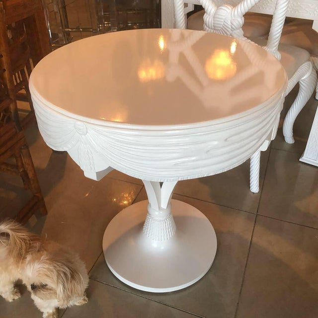 Vintage Grosfeld House White Lacquered Tassel Wood Entry Center Side Table For Sale - Image 9 of 9