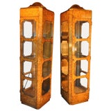 Image of Mastercraft Burl Wood Curio Cabinets - a Pair For Sale