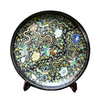Chinese Black Phoenix Porcelain Decorative Plate For Sale