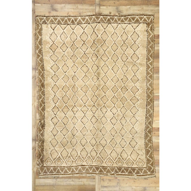 Tan Vintage Berber Moroccan Rug With Earth-Tone Colors - 7'1 X 9'8 For Sale - Image 8 of 10