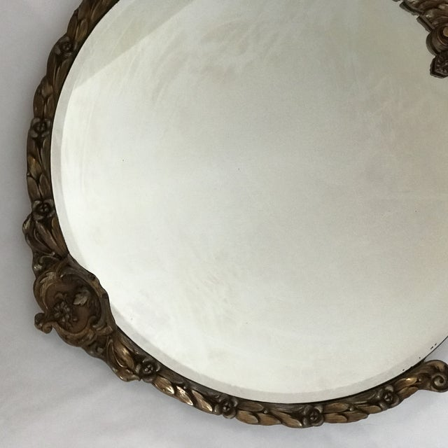 1930s Carved Wood Floral Frame Round Beveled Mirror | Chairish
