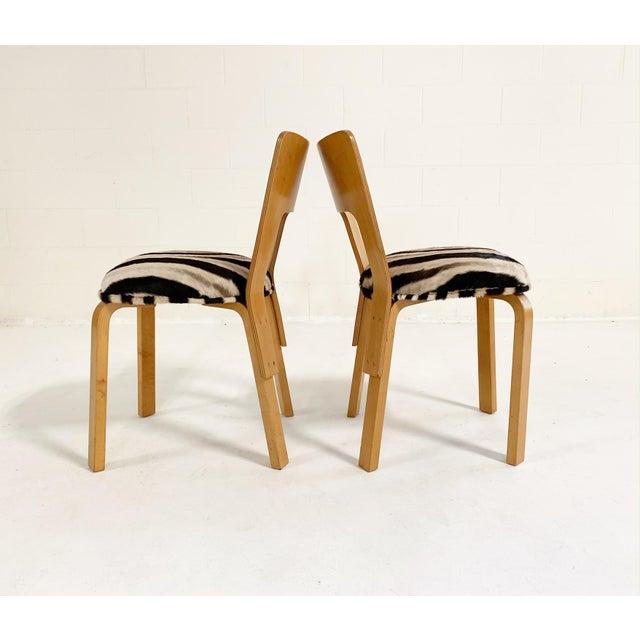 Mid-Century Modern Alvar Aalto Model 66 Chairs in Zebra Hide, Pair For Sale - Image 3 of 9
