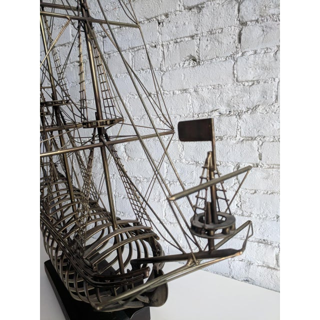 Curtis Jere Vintage Mid Century Brass Ship With Wood Base by Curtis Jere For Sale - Image 4 of 7