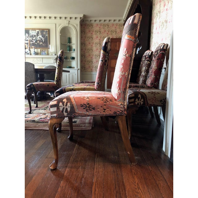 Eight traditional 20th CenturyQueen Anne style Kilim dining chairs in good condition with minor wear (see details of...