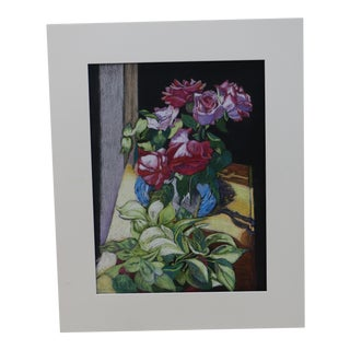 Oiiginal Louise Garfield Clark Floral Still Life Gouache Painting For Sale
