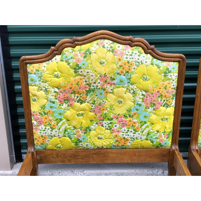 A pair of vintage Country French modern twin floral upholstered bed frames. Headboards can easily be reupholstered. Set...