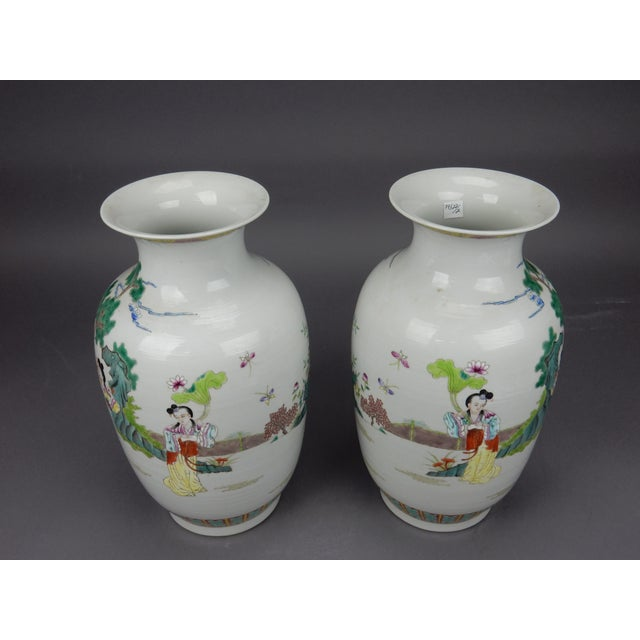 Gorgeous Pair of Chinese Famille Rose Mirror Imaged Immortal Vases For Sale - Image 6 of 13