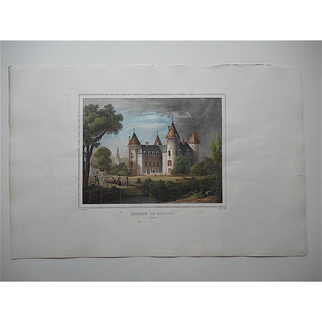 This large folio size hand colored lithograph depicts one of the important chateaus of France as of the late 18th century....