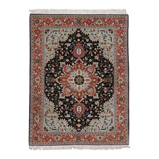 Vintage Persian Tabriz Geometric Floral Rug with Modern Style