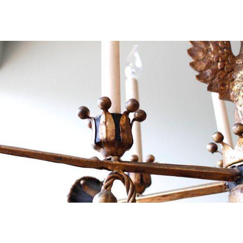 Tôle Painted and Gilt Eagle and Swords Chandelier - Image 8 of 9