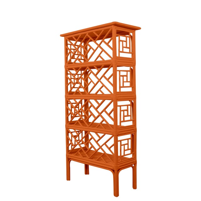 Not Yet Made - Made To Order Chippendale Etagere - Orange For Sale - Image 5 of 5