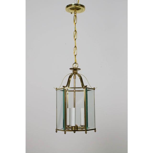 Hexagonal Beveled Glass Brass Lantern For Sale - Image 4 of 4