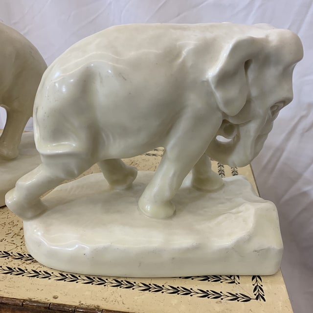 Antique White White Rookwood Elephant Book Ends For Sale - Image 8 of 11