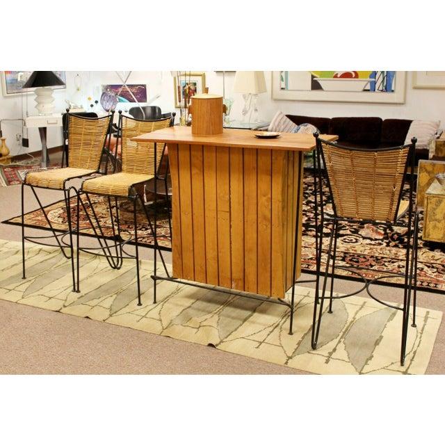 Modern Mid Century Modern Arthur Umanoff for Raymor Iron & Wood Slat Standing Bar 1950s For Sale - Image 3 of 13