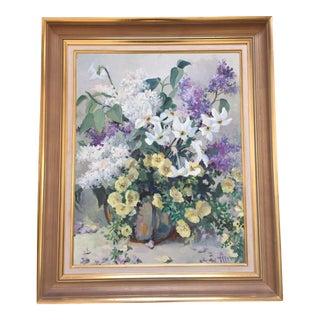 Vintage Original Signed Floral Still Life Painting For Sale