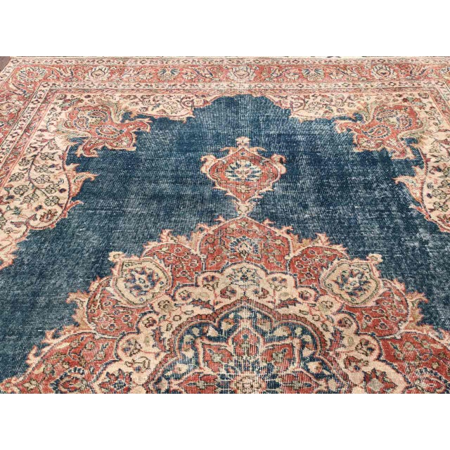 Large Distressed Oushak Rug For Sale In Raleigh - Image 6 of 13