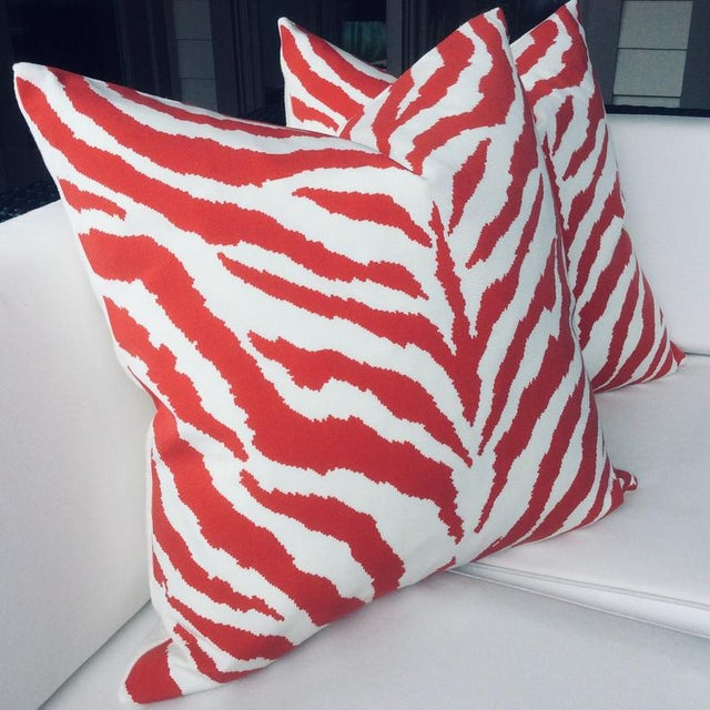 """Contemporary Contemporary Clarence House Indoor or Outdoor Pillows in """"Od Zebra"""" - a Pair For Sale - Image 3 of 4"""