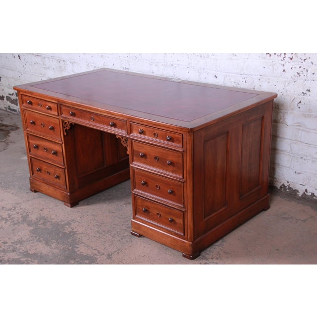 1980s Harden Sleepy Hollow Collection Leather Top Partner Desk For Sale - Image 5 of 12