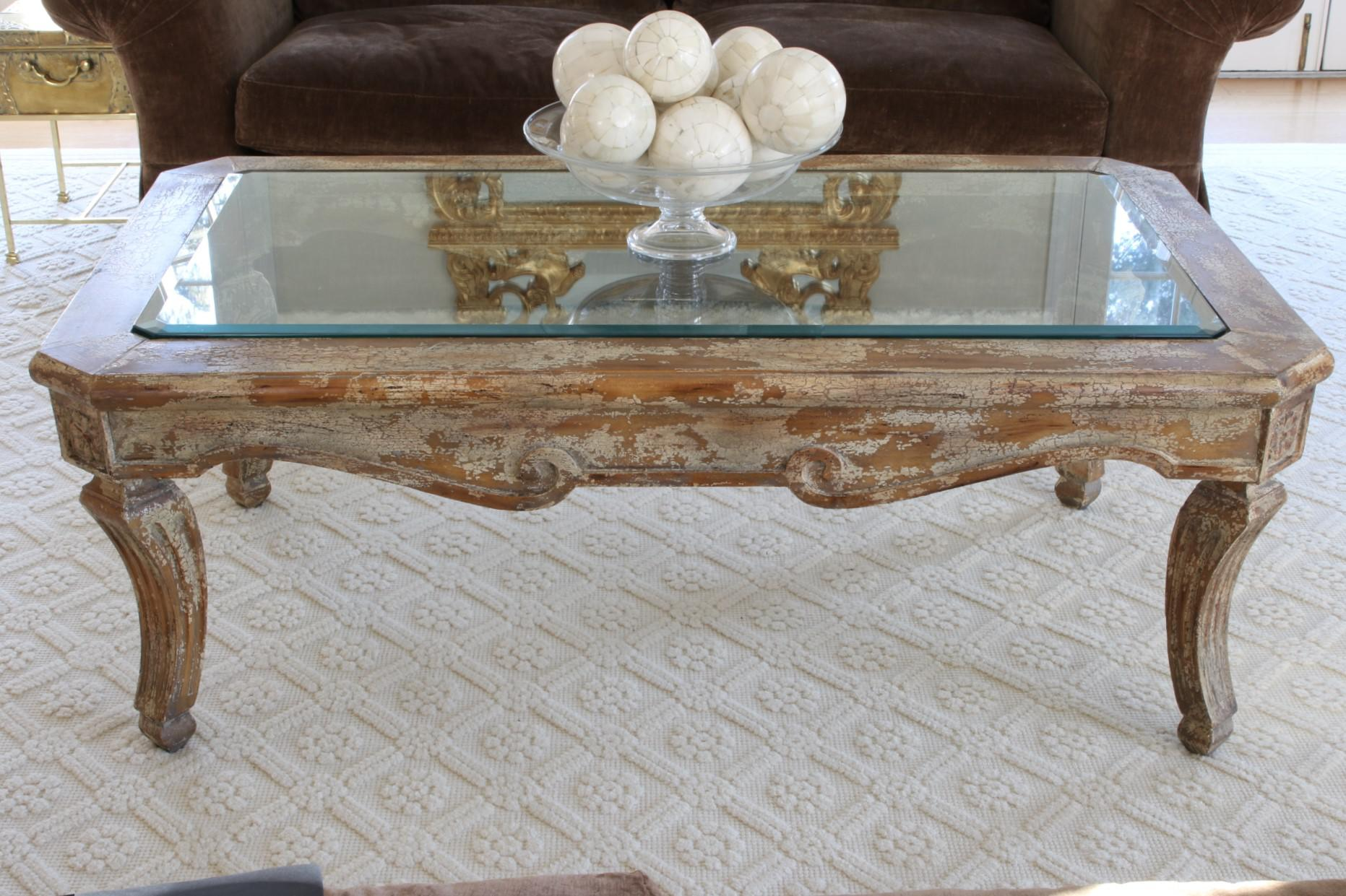 French Country Inset Beveled Glass Top Distressed Coffee Table For Sale    Image 3 Of 11