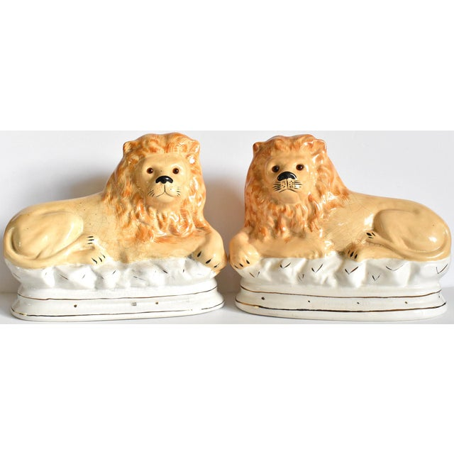 Mid 20th Century Vintage Staffordshire Style Recumbent Lions - a Pair For Sale - Image 12 of 12