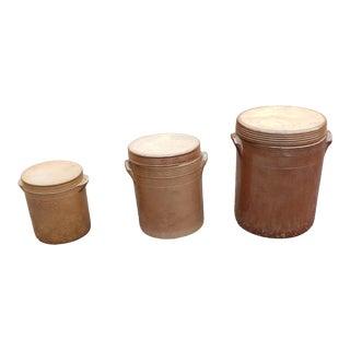 Late 19th Century Graduated Gres De Bonny Sur Loire Salt Glazed Confit Pots - Set of 3 For Sale