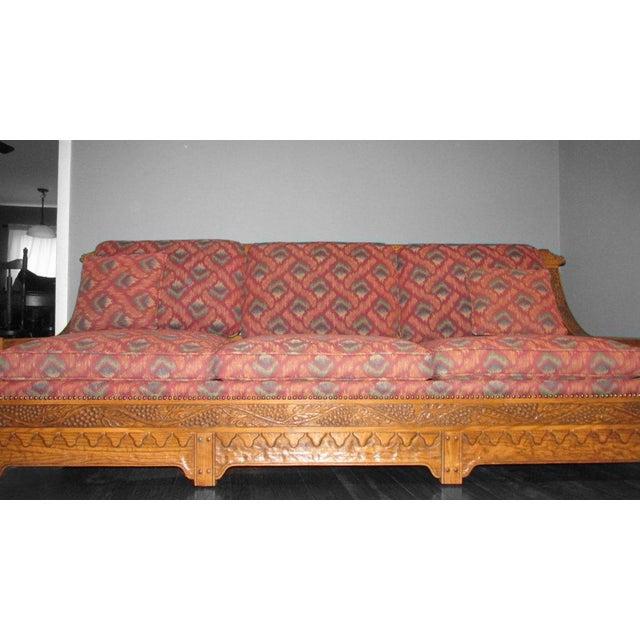 Romweber Viking Oak Carved Wood Low-Arm Sofa - Image 7 of 11