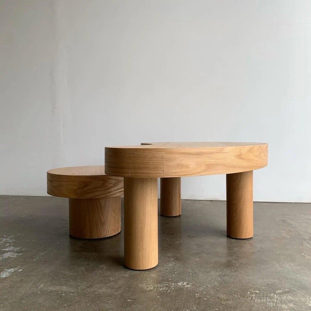 Contemporary Contemporary Kidney Two Tiered Coffee Table - A Pair For Sale - Image 3 of 13