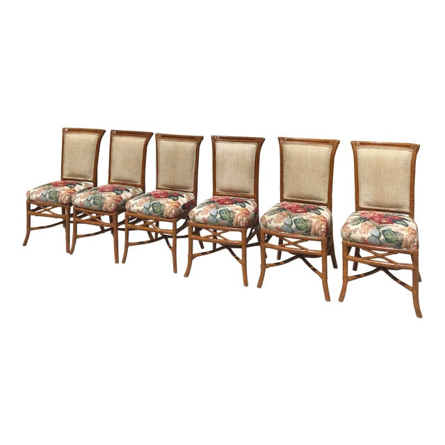 McGuire or Palecek Bamboo Leather Wrapped Dining Chairs- Set of 8 For Sale