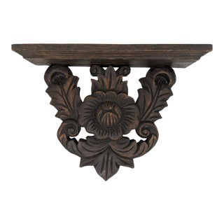 20th Century Boho Chic Carved Wood Wall Bracket Shelf For Sale