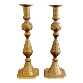 Art Deco Brass Geometric Candlesticks a Pair For Sale