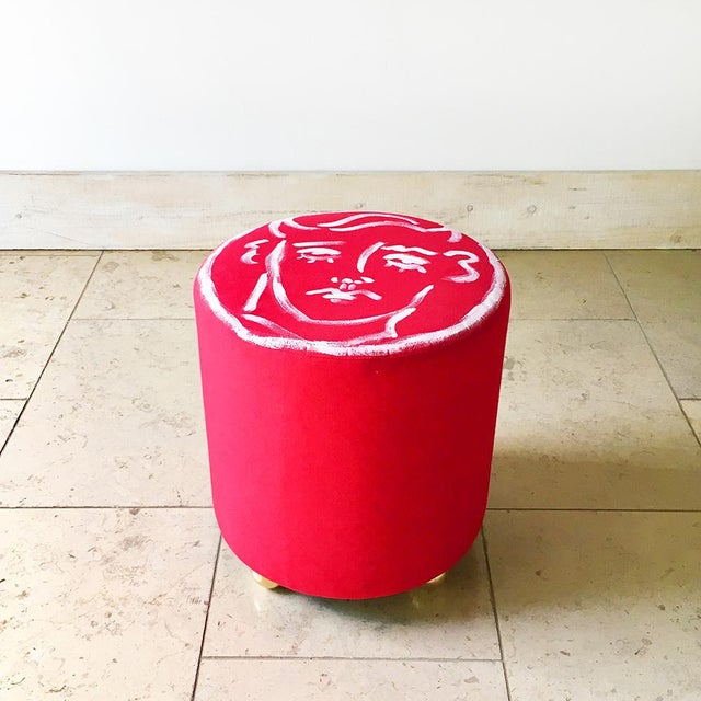 Brass Edward Hall Hand Painted Maud Stool by Talisman Bespoke For Sale - Image 7 of 7